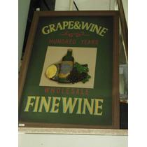 Cuadro Grape & Wine En Madera Con Dibujo En Relieve