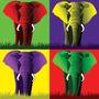 Elefante Mid Four En Tela Canvas De 80x80 Cm - Exelente Cal