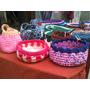 Set De Canastos Tejidos A Crochet Con Totora