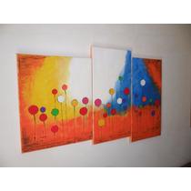 Cuadros Triptico Abstracto Bastidor Acrilico Pintado A Mano