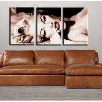 Marilyn Bastidores En Tela Canvas Triptico