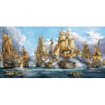 Batalla Naval Impreso En Tela Canvas 70x35 Cm Exelente Calid