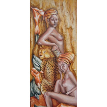 Cuadro Oleo Texturas De Africanas Y Flores En Bast 30 X 80cm