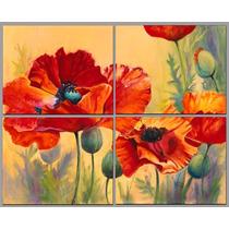 Flores Amapolas En 4 Partes De 50x40 C/u En Tela Canvas.