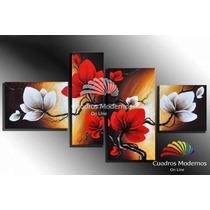 Cuadros Modernos, Tripticos Florales Abstractos Hecho A Mano