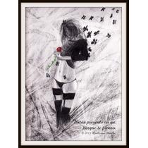 Dibujo Blanco Y Negro De Mujer Y Mariposas Sostiene Rosa