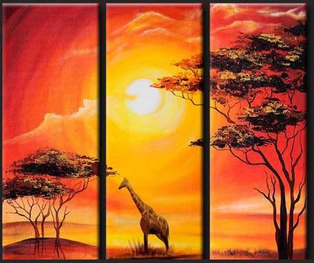 Cuadros Modernos Tripticos Paisajes Africanos Texturados - $ 880 ...