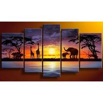 Cuadros Tripticos, Modernos Africanos Paisajes Pintados