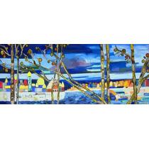 Cuadro Arte Original Pintado A Mano Paisaje Rusia Color