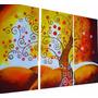 Cuadros Tripticos Texturado Arbol Texturado Colorido Deco