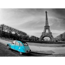 Cuadro Torre Eiffel Impreso En Tela Canvas C/ Bastidor 78x58