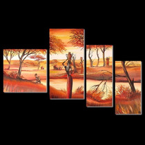 Cuadros Fragmentados, Paisajes Africanos, Pintados A Mano