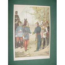 Litografia Antigua Rendicion Napoleon 3 Uniformes Grabado