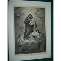Grabado Religion Antiguo San Jose Angeles Niño Murillo Pinx