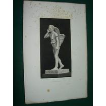 Antiguo Grabado Original Francia Estatua Marmol Niño Orleans