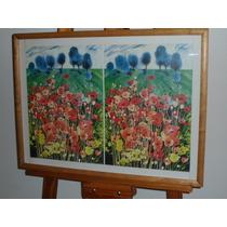 311- Cuadro Lamina Enmarcada Con Vidrio 67x50 Flores