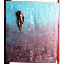 Cuadro Tela Tecnica Acrilico Jesus Con Relieve Cuero Firmado