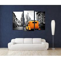Ciudad Vintage Tela Canvas Bastidor De 150x100 Cm Triptico