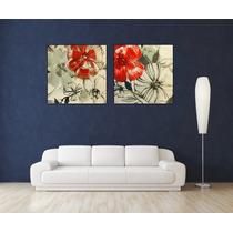 Flores Abstracto Canvas Bastidor 70x70 Cm Exelente Envios