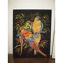 Cuadro Tapiz Muy Colorido Papagallos En Rama (95)