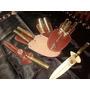 Cuchillo Tenedor Y Chaira Artesanal Tandilero De 16 Cm
