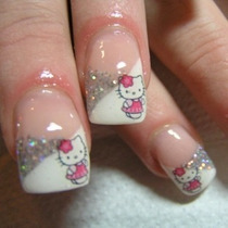 4 Stickers Hello Kitty Deco Uñas Stamp Nail Art Maquillaje