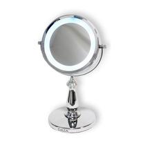 Espejo Doble Faz Con Luz De Led 6 5x De Aumento Daza Jm905
