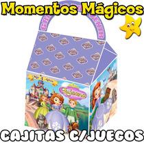 10 Cajitas Souvenirs Princesita Sofia Golosinera + 7 Juegos