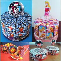 Torta Golosinera Souvenir Cajas En Forma De Porcion-bolsitas