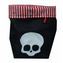 Souvenir Infantil Canastita Bolsa De Tela Pirata Calavera