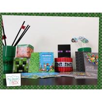 Combo Personalizado Minecraft Steve Creeper Cumple Souvenir