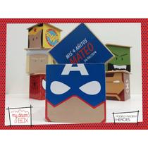 Caja Personalizada Madera 5cm2 Souvenirs Capitan America