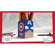 Lapicero Personaliza Madera Heroes Souvenir Capitan America