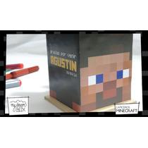 Caja Lapicero Personalizado Madera Minecraft Souvenirs Steve