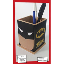Caja Lapicero Personalizado Madera Heroes Souvenir Batman Dc
