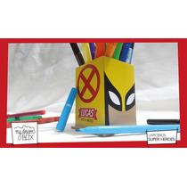 Caja Lapicero Personaliza Madera Heroes Souvenir Wolverine