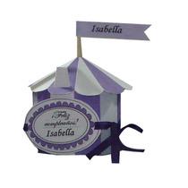 Souvenir Infantil Caja Circo Violeta Para Cumpleaños!
