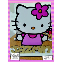 Souvenir Cumple Aplique Personalizad Madera 10cm Hello Kitty