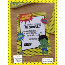Tarjetas Invitación Evento Cumple Personalizadas Héroes Hulk