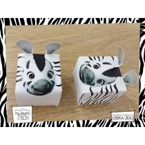 Souvenir Personalizado Evento Cumple Caja Animales Cebra Zou