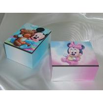 Cajas Souvenirs Cajitas Mickey Minnie Bebé Madera