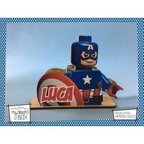 Servilletero Personalizado Madera Heroe Lego Capitan America