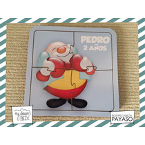 Souvenir Rompecabeza Personalizado Madera 10x10 Payazo Circo
