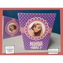 Souvenir Personalizad Cumple Caja Pochoclera Rapunzel Disney