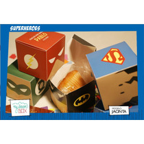 Caja Heroes Batman Superman Flash Linterna Souvenir Dc