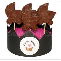 10 Chupetines De Chocolate Cochecito Baby Shower Bautismos