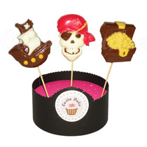 10 Chupetines De Chocolate Piratas Barco Calavera Exclusivos