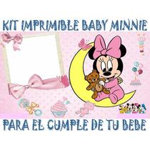 Kit Imprimible Baby Minnie Cumpleaños Tarjetas Invitaciones