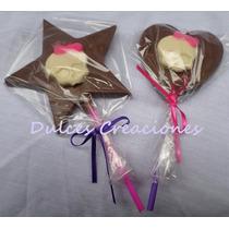 Paletas Chocolate Corazón Comunión Princesas Mickey Monster