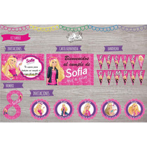 Kit Barbie Invitaciones, Stickers, Cartel, Banderín Y Mas